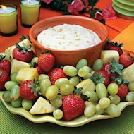 Brown sugar brings sweet goodness to this fruit dip. Pair it with any fresh, seasonal fruit.—we prefer strawberries, pineapple, and grapes.