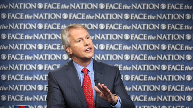 """In this Sunday, May 19, 2013, photo provided by CBS News, Gary Pruitt, the President and CEO of the Associated Press, discusses the leak investigation that led to his reporters' phone records being subpoenaed by the Justice Department on CBS's """"Face the Nation"""" in Washington. Pruitt says the Justice Department's seizure of AP journalists' phone records was """"unconstitutional"""", and he said that the secret subpoena of reporters' phone records has made sources less willing to talk to AP journalists. (AP Photo/CBS, Chris Usher)"""
