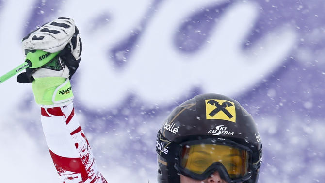 Fenninger from Austria reacts after placing second in the World Cup Women's Giant Slalom race in Kuehtai ski resort