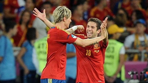 Jordi Alba, right, struck twice in Sunday night's victory over Nigeria