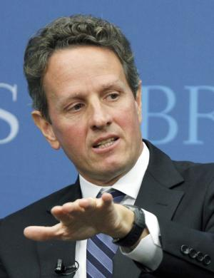 """FILE - In this Oct. 6, 2010 file photo, Treasury Secretary Timothy Geithner speaks at the Brookings Institution's """"The Path to Global Recovery"""" forum, in Washington. Geithner has told President Barack Obama that he will remain on the job as Treasury secretary. The Treasury Department released a statement Sunday, Aug. 7, 2011, saying Geithner had informed the president of his decision to remain in the administration. (AP Photo/Manuel Balce Ceneta, File)"""