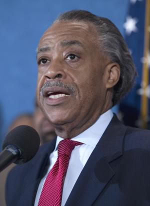 """Rev. Al Sharpton announces details of a march for """"Jobs Justice"""" to be held on Oct. 15, Wednesday, Sept. 28, 2011, during a news conference at the National Press Club in Washington.  (AP Photo/Evan Vucci)"""