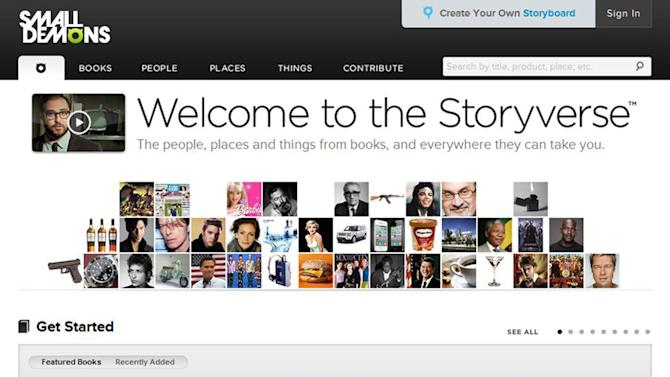 """This computer image released by SmallDemons.com shows the home page of Small Demons, an encyclopedia and """"Storyverse"""" that catalogues names, places, songs, products and other categories for thousands of books. (AP Photo/SmallDemons.com)"""