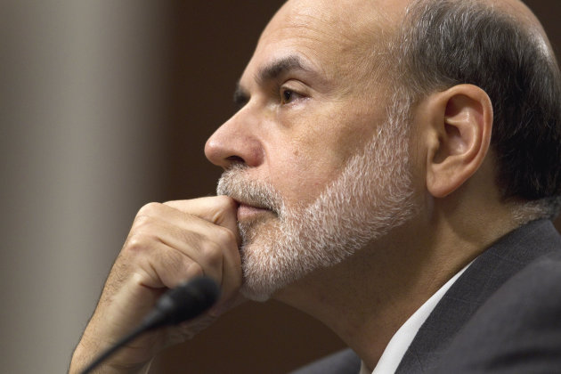 Federal Reserve Board Chairman Ben Bernanke testifies on Capitol Hill in Washington, Tuesday, Oct. 4, 2011, before the Joint Economic Committee hearing on the economic outlook. (AP Photo/Evan Vucci)