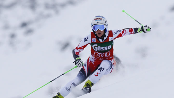 Brem from Austria clears a gate during the first run of the World Cup Women's Giant Slalom race in Kuehtai ski resort