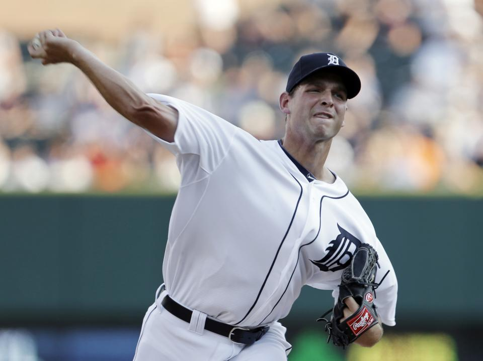 Detroit Tigers pitcher Jacob Turner throws to a Los Angeles Angels batter in the first inning of a baseball game in Detroit, Tuesday, July 17, 2012. (AP Photo/Paul Sancya)