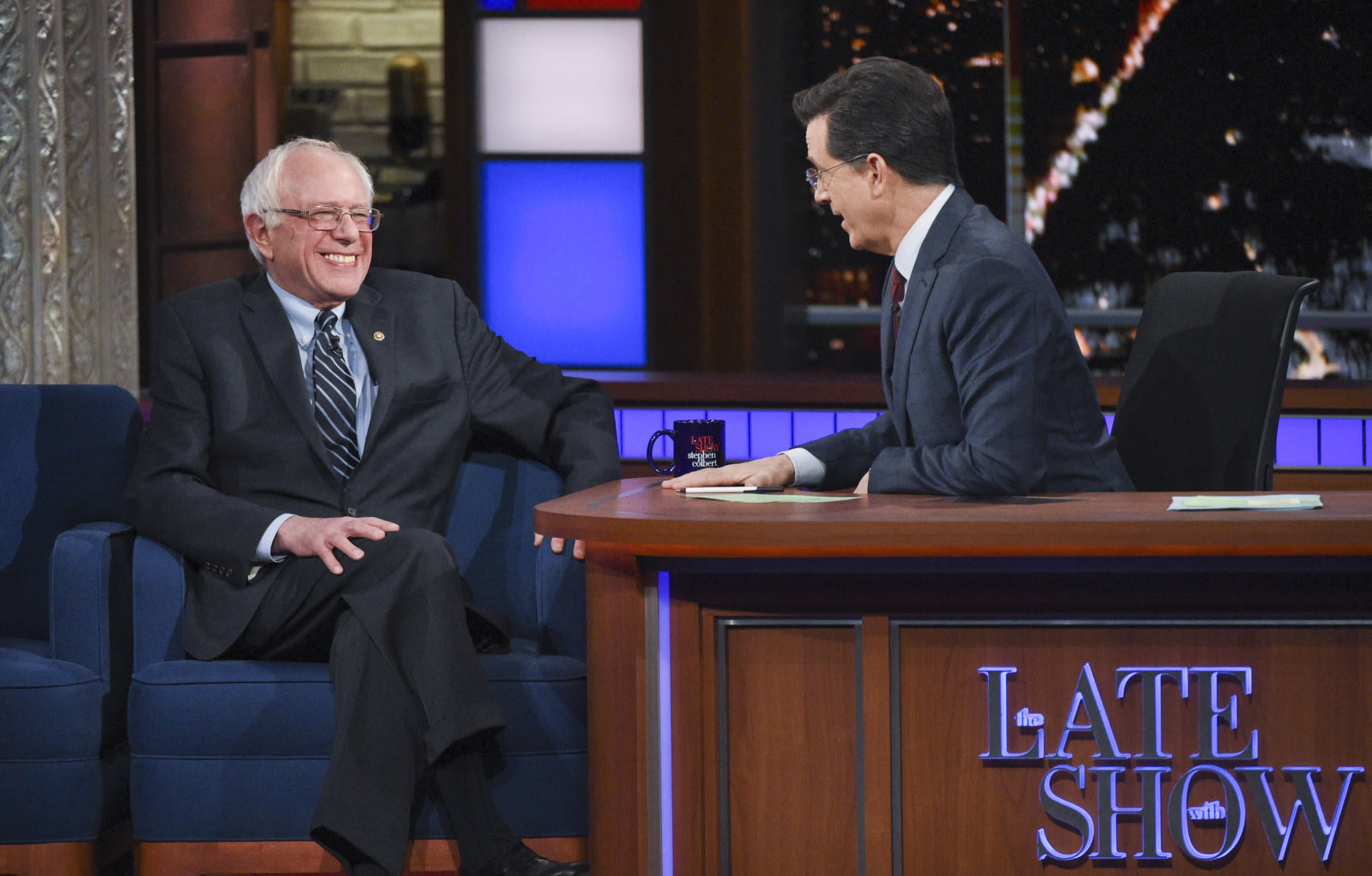"""Stephen Colbert Asks Bernie Sanders If His """"Revolution"""" Might Lead To Violence"""