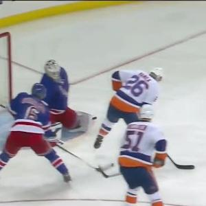Thomas Vanek deflects it past Lundqvist