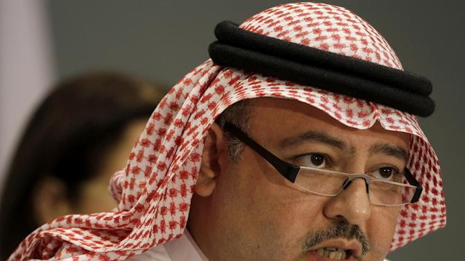 Bahraini Justice Minister Sheik Khaled bin Ali Al Khalifa speaks during a press conference about the government efforts on Bahrain Independent Commission of Inquiry (BICI) recommendations in Manama, Bahrain, Nov. 21, 2012. (AP Photo/Hasan Jamali)