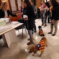 Women with dogs wearing an Estelada (pro-independence flag) wait to vote in regional elections in Sant Vicenc dels Horts on November 25. Catalan parties pushing for a referendum on breaking away from Spain won strong backing in an election Sunday, while voters punished the rich region's leader Artur Mas, forcing him to share power