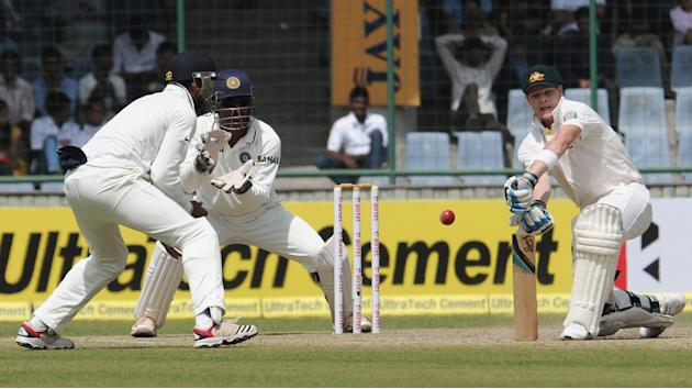 Matthew Wade in an action against India during the 4th test match of Border Gavaskar Trophy, at Ferozeshah Kotla Stadium in Delhi on March 22, 2013. P D Photo by P S Kanwar