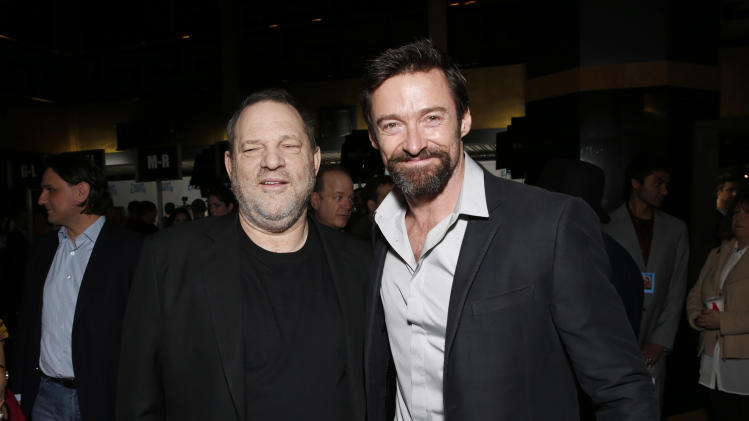 "Harvey Weinstein and Hugh Jackman attend the LA premiere of ""Escape from Planet Earth"" at the Chinese Theater on Saturday, Feb. 2,2013 in Hollywood. (Photo by Todd Williamson/Invision/AP Images)"
