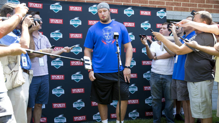 Philadelphia Eagles' Lane Johnson speaks with members of the media at NFL football training camp, Friday, July 25, 2014, in Philadelphia. (AP Photo)