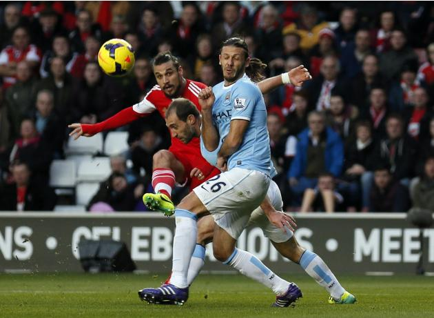 Southampton's Dani Osvaldo shoots and scores a goal during their English Premier League soccer match against Manchester City at St Mary's stadium in Southampton