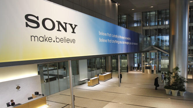 A large sign of Sony is decorated in the main lobby of the headquarters of Sony Corp. in Tokyo Tuesday, April 10, 2012. Sony more than doubled Tuesday its projected annual loss to 520 billion yen ($6.4 billion), its worst red ink ever, due to a massive tax charge. (AP Photo/Koji Sasahara)