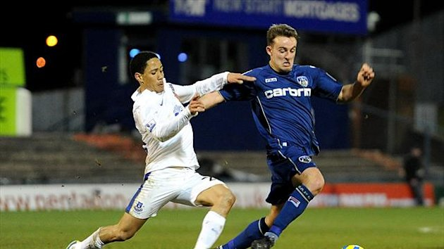 Jose Baxter, right, hailed an 'unbelievable' experience playing against his old club Everton