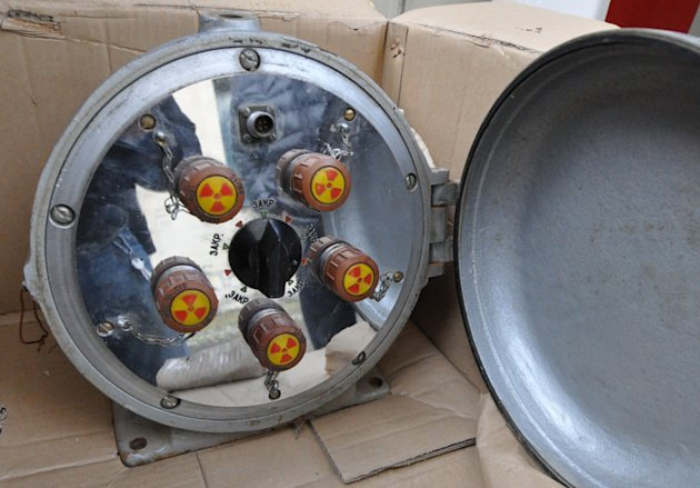 This undated photo provided by the Georgia Interior Ministry shows part of a seizure of radioactive substances including iridium-192 and europium-152. Police in Kutaisi, Georgia arrested two people involved in the smuggling in February 2011. The investigation led police to track a third man, Soslan Oniani, who would be arrested in April 2012 trying to sell radioactive material to two Turkish men. Despite years of effort and hundreds of millions of dollars spent in the fight against the illicit sale of nuclear contraband, the black market remains active in the countries around the former Soviet Union. The radioactive materials, mostly left over from the Cold War, include nuclear bomb-grade uranium and plutonium, and dirty-bomb isotopes like cesium and iridium. (AP Photo/Georgia Interior Ministry)