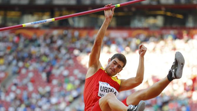 Urena of Spain competes in the high jump event of the men's decathlon during the 15th IAAF World Championships at the National Stadium in Beijing
