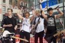"FILE - In this July 22, 2014 file photo, 5 Seconds of Summer band members, from left, Luke Hemmings, Ashton Irwin, Michael Clifford and Calum Hood appear on NBC's ""Today"" show in New York. 5 Seconds of Summer will make its debut at the MTV Video Music Awards, MTV's annual over-the-top celebration of pop music, on Sunday, Aug. 24. (Photo by Charles Sykes/Invision/AP, File)"