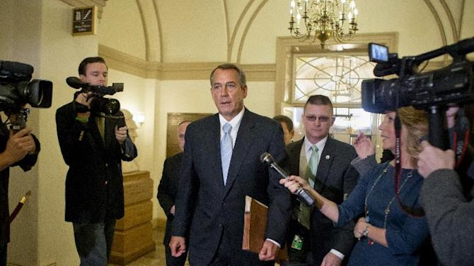 "FILE - In this March 1, 2013, file photo Speaker of the House John Boehner, R-Ohio, arrives at the Capitol after meeting with President Barack Obama and top congressional leaders at the White House hours before billions of dollars in mandatory budget cuts are to start. Republican leaders in Congress say one tax increase a year is enough. ""The president got his tax hikes,"" Boehner told reporters. ""How much more money do we want to steal from the American people to fund more government? I'm for no more."" (AP Photo/J. Scott Applewhite, File)"