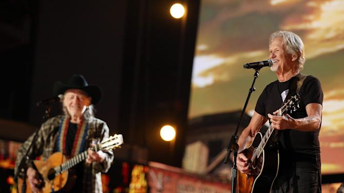 Kris Kristofferson, right, and Willie Nelson perform during rehearsals for the 56th Annual Grammy Awards at The Staples Center, on Friday, Jan. 24, 2014, in Los Angeles. The Grammy Awards will take place at the Staples Center on Sunday, Jan. 26, 2014, in Los Angeles. (Photo by Matt Sayles/Invision/AP)