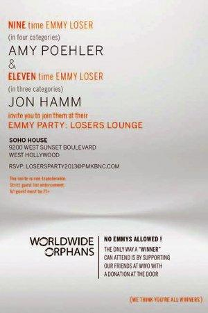 See Jon Hamm and Amy Poehler's Hilarious Invite for Their Losers-Only Emmy Party (Photo)