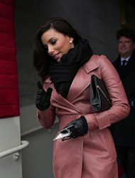 "Actress Eva Longoria arrives for the presidential inauguration on the West Front of the U.S. Capitol January 21, 2013 in Washington, DC. The stars included Hispanic American actress Eva Longoria, the ""Desperate Housewives"" star and Obama inauguration co-chair who was in the official seated gallery tucked in among the nation's lawmakers"