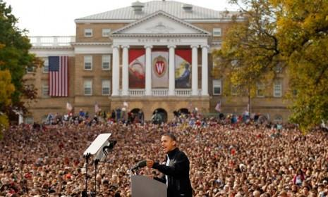 President Barack Obama speaks to an crowd of almost 30,000 people at a campaign rally in Madison, Wis., on Oct. 4: The president benefited from some impressive jobs numbers on Oct. 5.