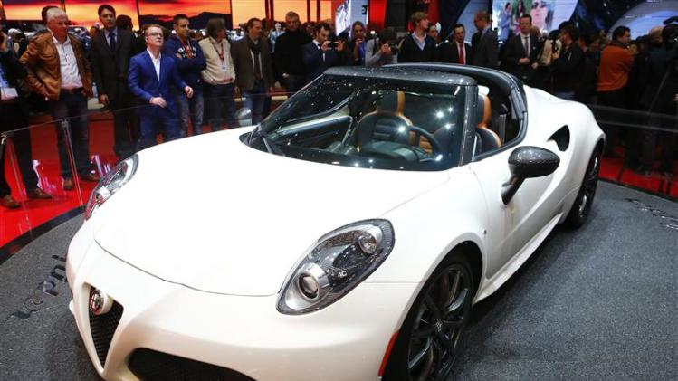 Alfa Romeo 4C Spider concept car is pictured during the media day ahead of the 84th Geneva Motor Show at the Palexpo Arena in Geneva