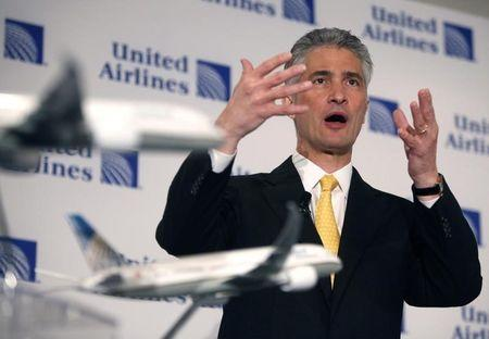 Continental Airlines CEO Smisek speaks during a news conference announcing the merger between Continental Airlines and United Airlines in New York