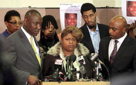 File photo of Samaria Rice, the mother of Tamir Rice along side Benjamin Crump, Leonard Warner and Walter Madison speaks during a news conference in Cleveland