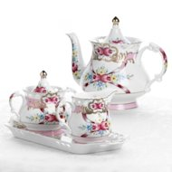 Sorelle Isabella Heart 4-piece Porcelain Tea Set
