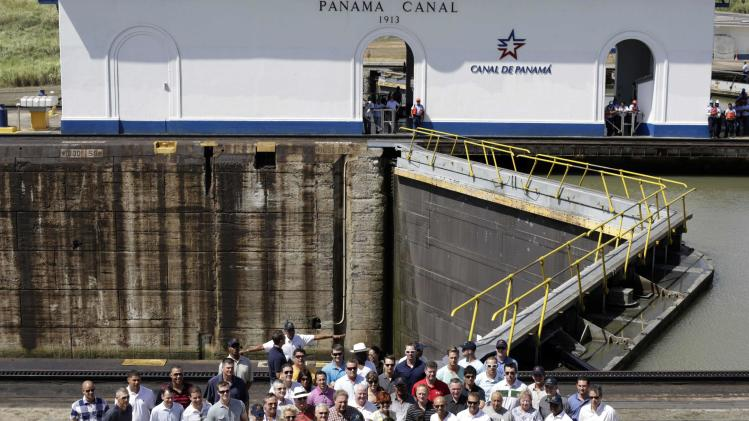 The New York Yankees baseball team and their companions pose for a photograph during a visit to the Panama Canal in Panama City