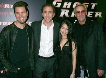 Mark Steven Johnson , director, Nicolas Cage , Alice Kim  and Peter Fonda at the New York premiere of Columbia Pictures' Ghost Rider