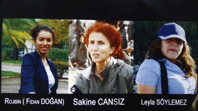 "This combination photo provided Thursday, Jan.10, 2013 by the Kurdish Cultural center in Paris shows the three victims ""executed"" in Paris.  Fidan Dogan, left, Sakine Cansiz, center, and Leyla Soylemez.  Cansiz was a founding member of the Kurdistan Workers Party, or PKK.  (AP Photo)"