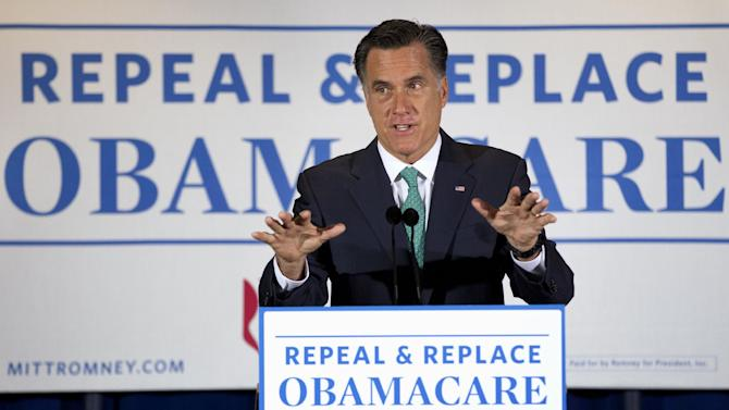 Republican presidential candidate, former Massachusetts Gov. Mitt Romney speaks at NuVasive, Inc., a medical device company, Monday, March 26, 2012, in San Diego, Calif. (AP Photo/Steven Senne)