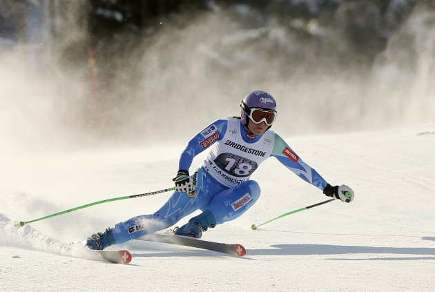 Maze of Slovenia skis during the women's downhill practice at the Alpine Skiing World Cup in Garmisch-Partenkirchen