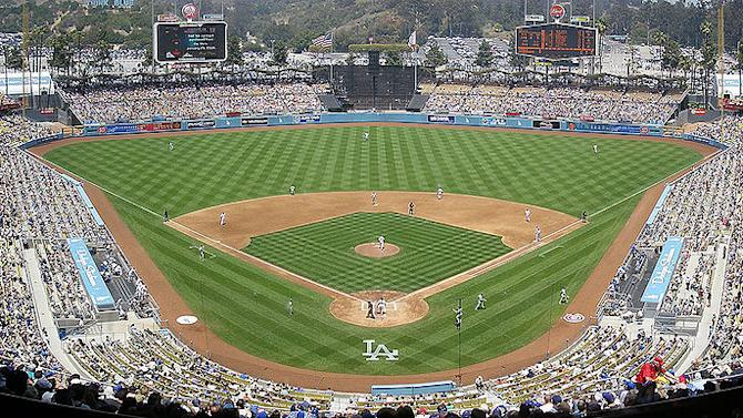 Panorama of Dodger Stadium in Los Angeles (taken from third or fourth deck).