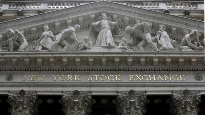 FILE - This Thursday, Oct. 2, 2014, file photo, shows the facade of the New York Stock Exchange. Major stock indexes are creeping higher on Friday, Dec. 19, 2014, as the market comes off a massive two-day rally spurred by the Federal Reserve's assurance that it was in no hurry to hike interest rates. (AP Photo/Richard Drew, File)