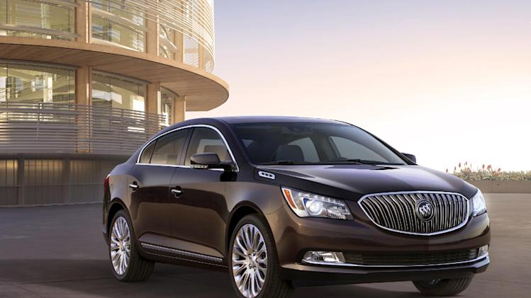 This photo provided by General Motors Co., shows the 2014 Buick LaCrosse 3.6L V6. GM is taking the latest step on its seemingly quixotic quest to revive the Buick brand in the U.S., rolling out refurbished versions of the midsize Regal and the larger LaCrosse in New York. (AP Photo/General Motors Co.)