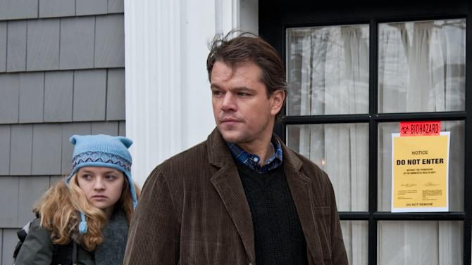 "In this image released by Warner Bros. Pictures, Anna Jacoby-Heron, left, and Matt Damon are shown in a scene from the film ""Contagion."" (AP Photo/Warner Bros. Pictures, Claudette Barius)"