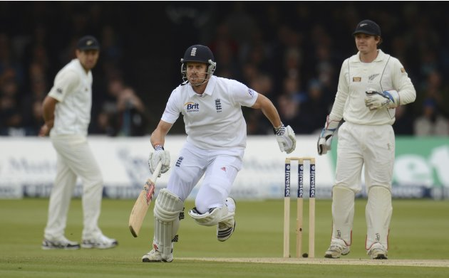 England's Compton takes a run during the first test cricket match against New Zealand at Lord's cricket ground in London