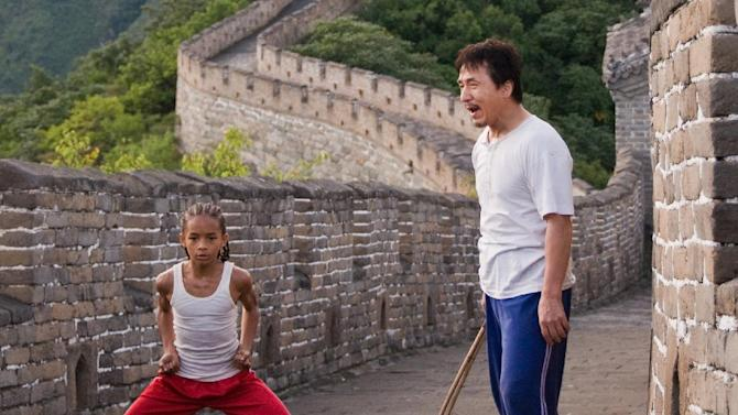 """FILE - In this publicity image released by Columbia Pictures, Jaden Smith as """"Dre"""", left, and Jackie Chan as Mr. Han, are shown in """"The Karate Kid."""" """"The Amazing Spiderman,"""" """"Taxi Driver"""" and """"The Karate Kid"""" are going big. The new, restored and rebooted films from Sony Pictures are among the content coming pre-loaded on a video player bundled with Sony's first ultra-high-definition television, a massive 84-inch set that retails for $24,999.99 and features nearly four times the resolution of typical high-definition TVs. (AP Photo/Columbia Pictures - Sony, Jasin Boland, File)"""