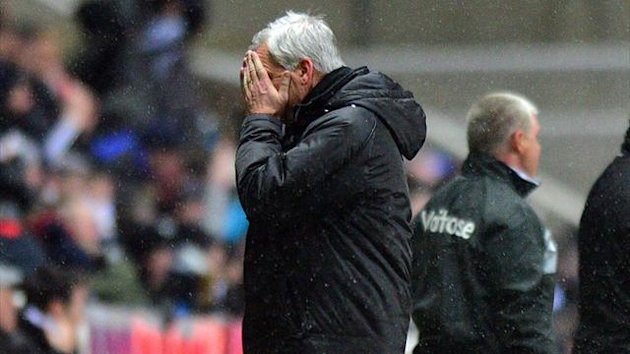 Newcastle United manager Alan Pardew during the 2-1 home defeat to Reading on January 19 2013