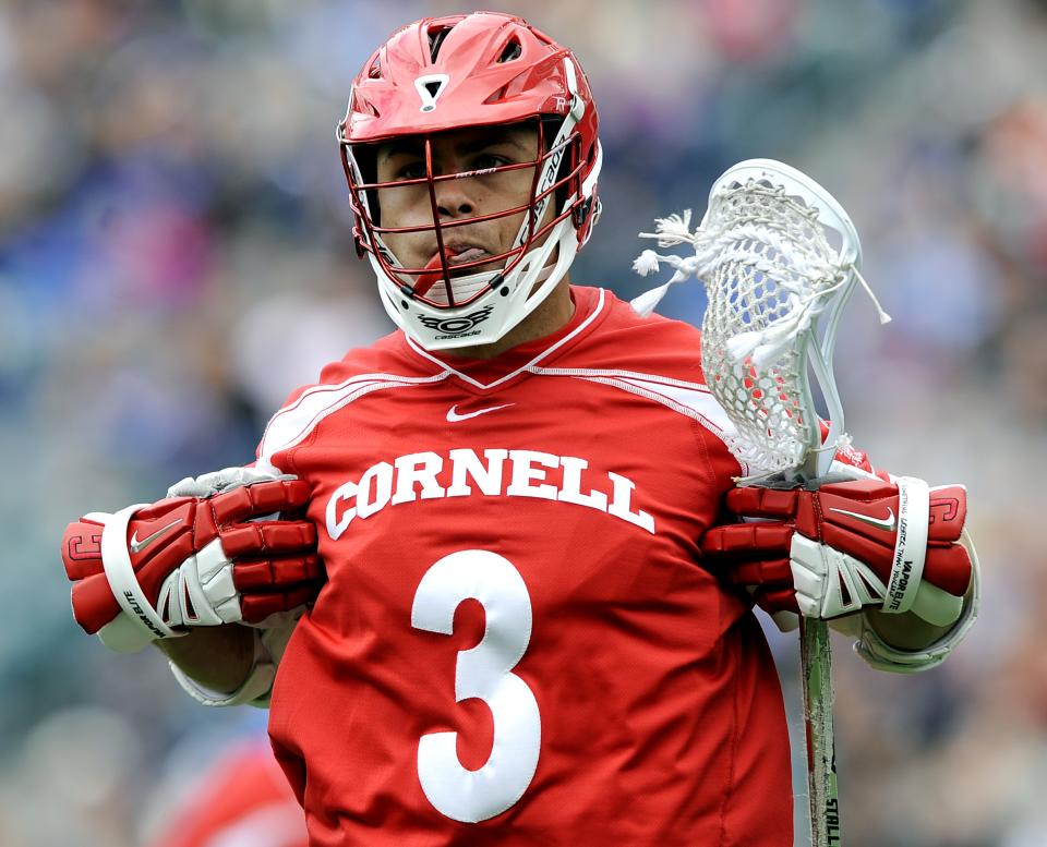 Cornell's Rob Pannell celebrates after scoring a goal in the first half of an NCAA division 1 semifinal lacrosse game against Duke on Saturday, May 25, 2013, in Philadelphia. (AP Photo/Michael Perez)