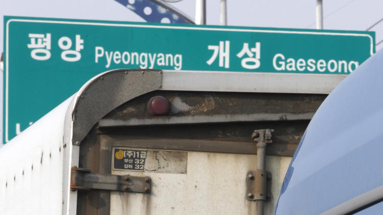 A South Korean truck driver waits to head the North Korea's city of Kaesong, at the customs, immigration and quarantine office in Paju, South Korea, near the border village of Panmunjom, Thursday, April 4, 2013. North Korea on Wednesday barred South Korean workers from entering a jointly run factory park just over the heavily armed border in the North, officials in Seoul said, a day after Pyongyang announced it would restart its long-shuttered plutonium reactor and increase production of nuclear weapons material. (AP Photo/Ahn Young-joon)