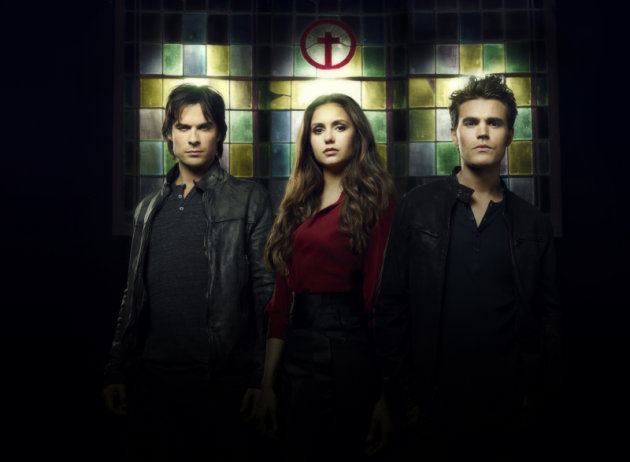 &quot;The Vampire Diaries&quot; -- Ian Somerhalder as Damon, Nina Dobrev as Elena and Paul Wesley as Stefan
