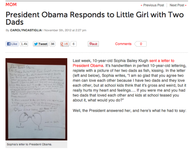 Girl Writes To President Obama