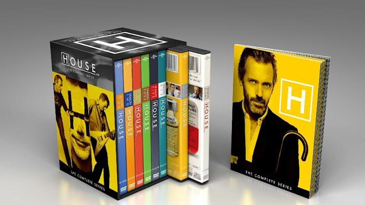 "This product image released by NBCUniversal shows the DVD collection for ""House: The Complete Series."" The collection includes 41 discs with all 176 episodes, plus a 24-page souvenir booklet. (AP Photo/NBCUniversal)"