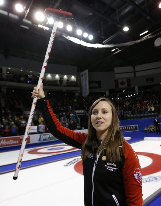 Ontario skip Homan celebrates after defeating Manitoba to win during their gold medal game at the Scotties Tournament of Hearts curling championship in Kingston